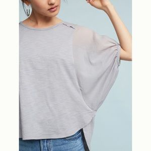 Anthropologie Briony Top Gray Balloon Sleeves